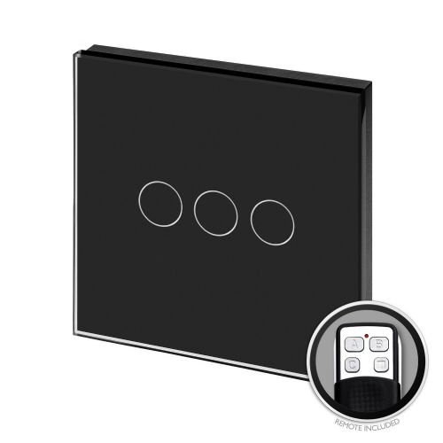 RetroTouch Touch & Remote On/Off Light Switch 3 Gang 1 Way Black Glass PG 00372
